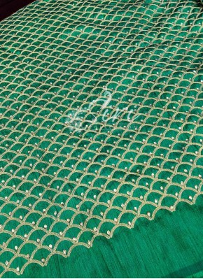 Green Raw Silk Fabric in Gold Embroidery and Stone Work Per Meter