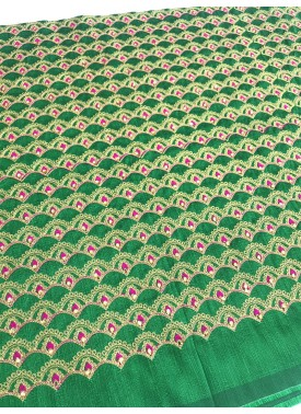 Green Raw Silk Fabric in Stone and Embroidery Work