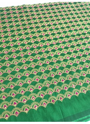 Green Raw Silk Fabric in Stone and Embroidery Work with Pink Buti