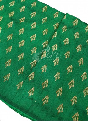 Green Raw Silk Fabric in Zari Embroidery and Sequins Butis Per Meter