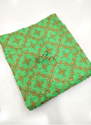 Green Raw Silk Fabric One Meter Cut Piece