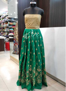 Green Raw Silk Unstitched Lehenga Fabric and Gold Net Crop Top Fabric Set