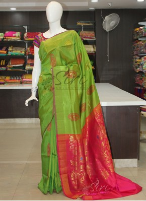 Green Reddish Pink Uppada Silk Saree