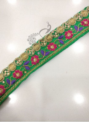 Green Saree Border Lace in Stone and Embroidery Work