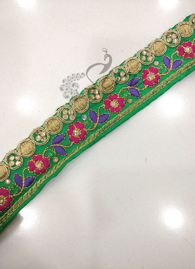 3cf6ab7049 Green Saree Border Lace in Stone and Embroidery Work. Zoom