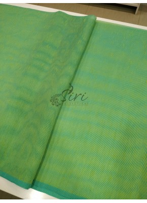 Green Shaded Fancy Gunjan Self Weave Line Fabric Per Meter