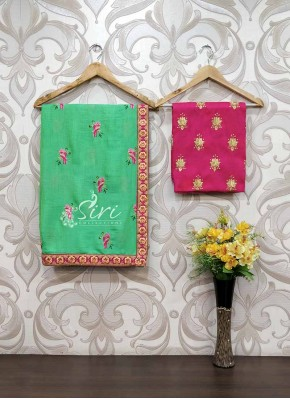Green Soft Jute Saree in Birds Embroidery Work Butis