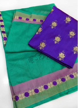 Green Soft Jute Saree with Cut Work Borders