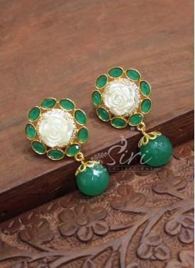 Green Stone Mother Pearl Flower Design Earrings