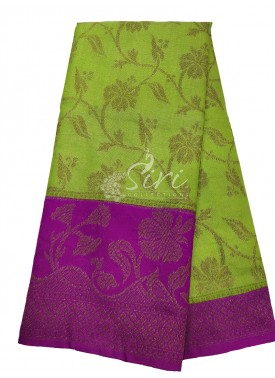 Green Tissue Banarasi Dupion Silk Saree with Contr