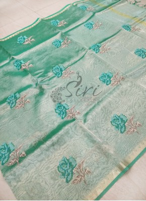 Green Tissue Saree in Cross Stitch Embroidery Work Butis