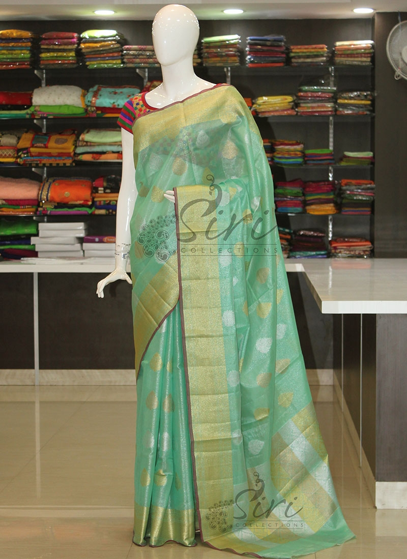 Green Tissue Saree in Silver and Gold Zari Butis