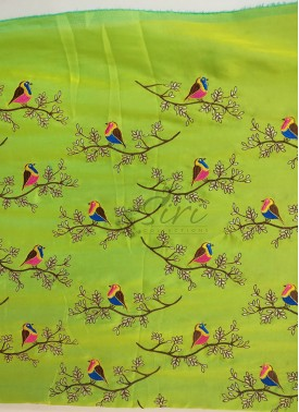 Green Yellow Double Shade Barfi Silk Fabric in Birds Design Embroidery Work Per Meter