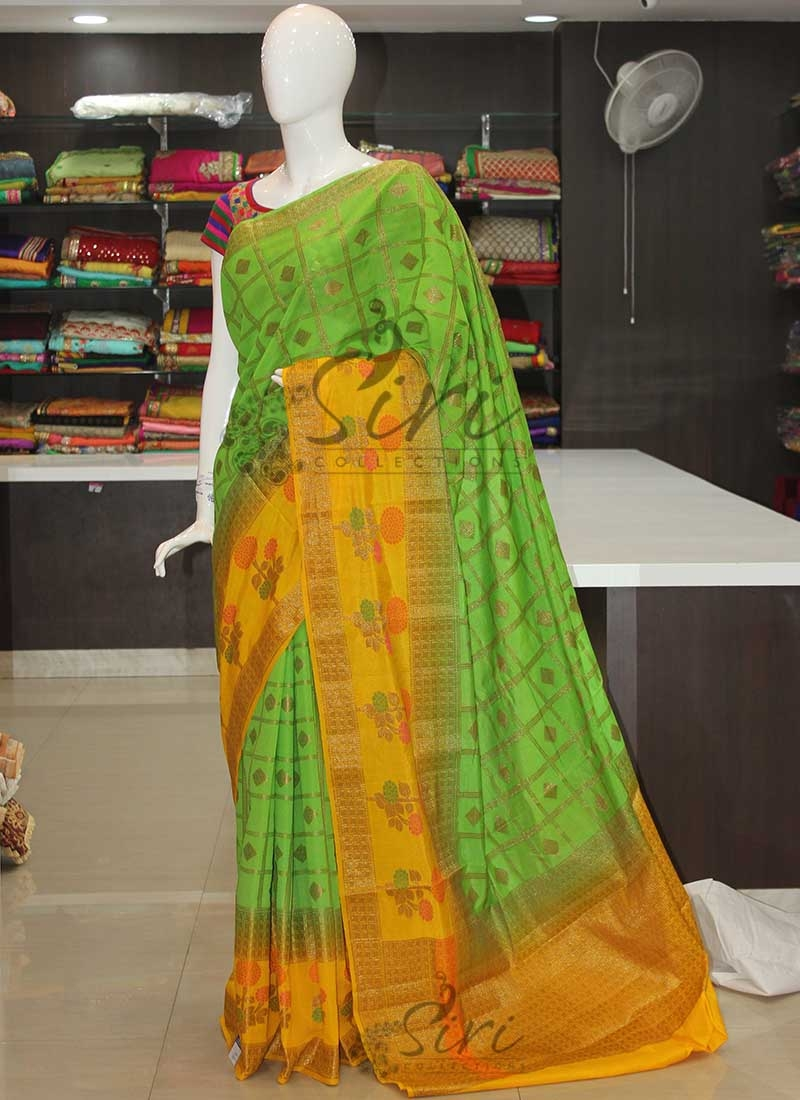 Green Yellow Fancy Banarasi Silk Cotton Saree