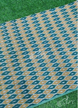 Green Yellow Pochampally Ikat Mercerized Cotton Fabric By Meter