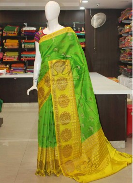Green Yellow Pure Banarasi Chiniya Silk Saree
