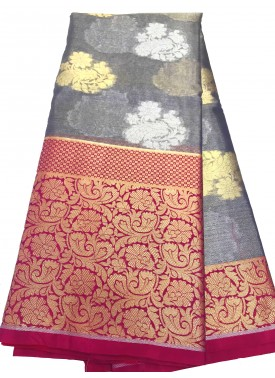 Grey and Magenta Banarasi Kora Organza Saree in All Over Silver and Gold Buti