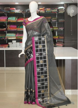 Grey Black Fancy Cotton Silk Saree in Silver Gold Zari
