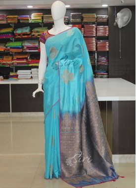 Grey Blue Banarasi Dupion Silk Saree in Silver and Gold Zari