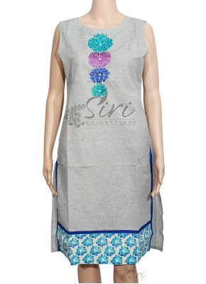 Grey Colour Cotton Kurti
