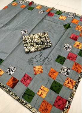 Grey Cotton Saree in Applique Work