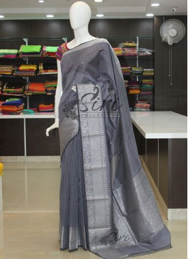Grey Cotton Silk Saree in Silver Zari Checks and Border