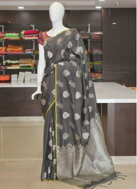 Grey Fancy Banarasi Silk Saree in Silver Zari