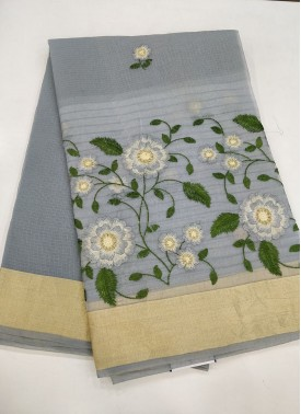 Grey Fancy Kota Saree in Embroidery Work