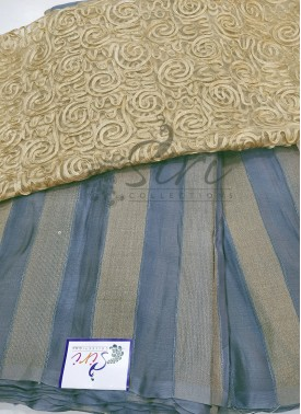 Grey Georgette Saree in Self Soft Jute Stripes with Designer Blouse