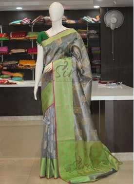 Grey Green Fancy Tissue Saree