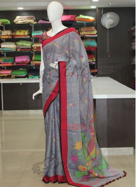 Grey Jhamdani Pure Linen Saree