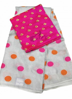 Grey Jute Silk Saree in Magenta Orange Polka Dots