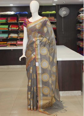 Grey Kota Saree in Silver and Gold Zari Butis and Border