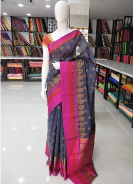 Grey Multi Colour Fancy Cotton Silk Saree in Rich Pallu