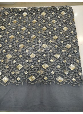 Grey Net Fabric in Embroidery and Sequins Work Per Meter