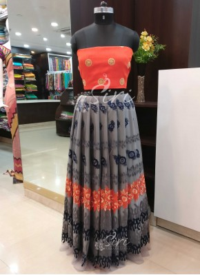 Grey Orange Net Raw Silk Lehenga Crop Top Fabric Set