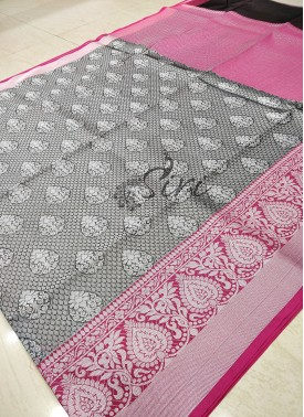Grey Pink Banarasi Kora Saree in Tanchoi Weave