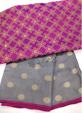 Grey Purple Jute Silk Saree in Self Polka Dots Weave