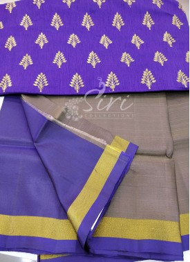Grey Purple Uppada Silk Saree with Designer Blouse Fabric