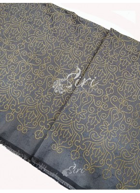Grey Raw Silk Fabric in Golden Zari Embroidery Work Per Meter