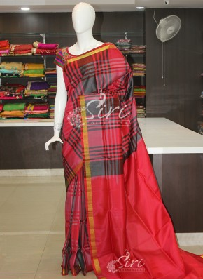 Grey Red Checks Pattu Silk Saree