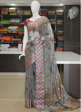 Grey Silver Soft Kora Saree in Jute Butis and Pallu