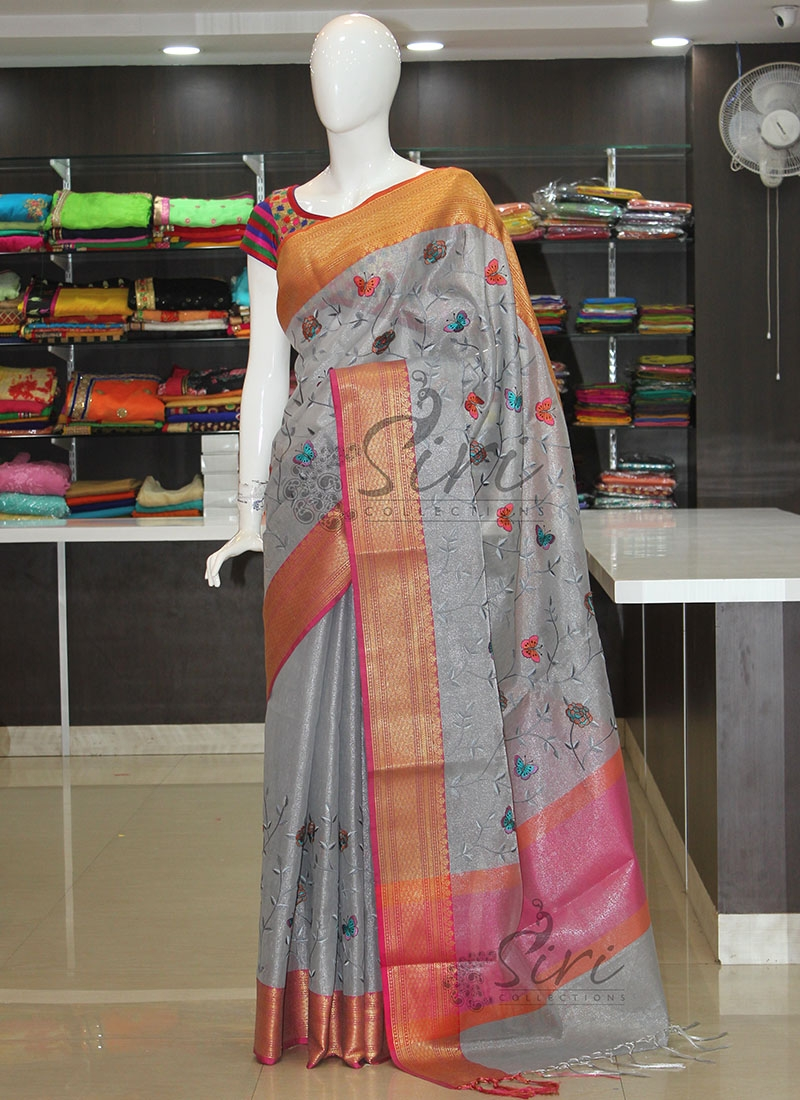 Grey Tissue Saree in Rich Kanchi Borders and Embroidery Work