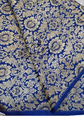 Heavy Designer Royal Blue Banarasi Silk Fabric Per Meter