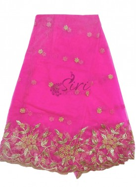 Hot Pink Designer Net Cut Work Dupatta
