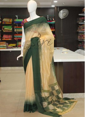 Ikat Design Bailou Saree in Dark Green Border