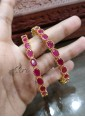 Designer Pair of Bangles in Ruby Stones - 1