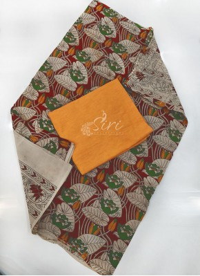 Kalamkari Cotton Dupatta with Ikat Top Fabric and No Bottom