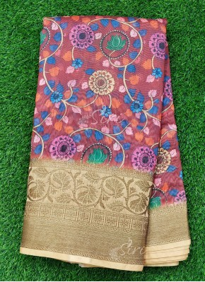 Kalamkari Printed Banarasi Fabric with two side Border