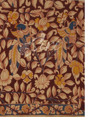 Kalamkari Screen Print Cotton Fabric in Peacock Design